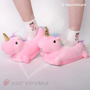 Тапки-игрушки единороги розовые